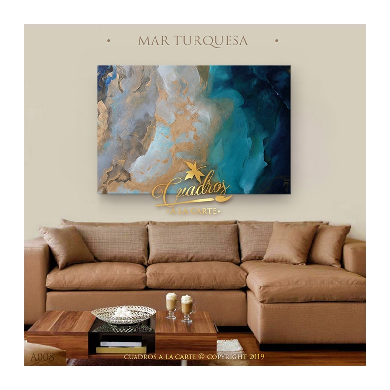 Decorative Oil Painting - Abstractos Mar Turquesa